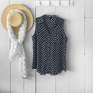 Express Navy And White Butterfly Sleeve Top